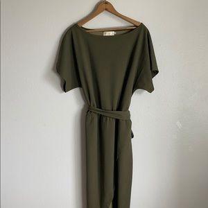 Olive green dolman belted dress
